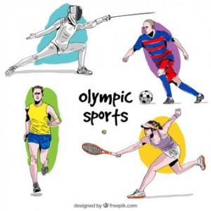 disegnati-a-mano-atleti-acquerello-nei-giochi-olimpici scherma